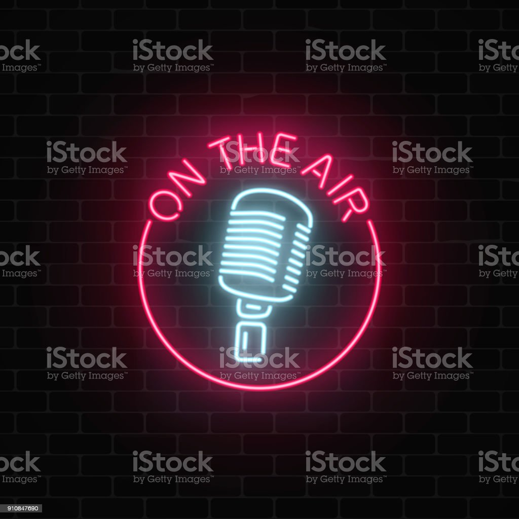 Neon on the air sign with retro microphone in round frame. Nightclub with live music icon.