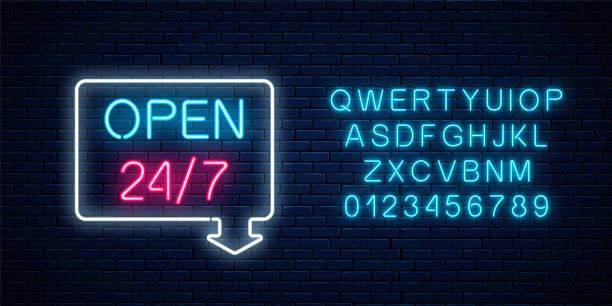 네온 오픈 24 시간 주 7 일 화살표와 알파벳 기하학적 모양에 로그인 합니다. 라운드 시계 작업 표시줄 - 형광색의 stock illustrations