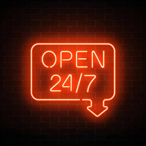 neon geometrische form mit pfeil auf einer gemauerten wand hintergrund geöffnet 24 stunden 7 tage die woche anmelden. - lampenshop stock-grafiken, -clipart, -cartoons und -symbole