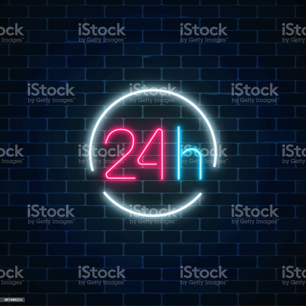 neon open 24 hours sign in circle frame round the clock working bar