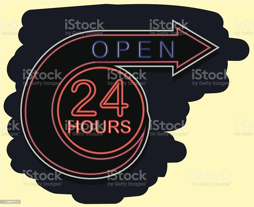 Neon Open 24 Hours royalty-free neon open 24 hours stock vector art & more images of 20-24 years