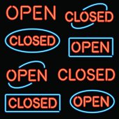 A set of simple 'Open' and 'Closed' signs in neon. No gradients or transparencies used.