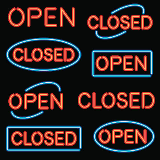 Neon 'Open' and 'Closed' Sign Set A set of simple 'Open' and 'Closed' signs in neon. No gradients or transparencies used. open sign stock illustrations