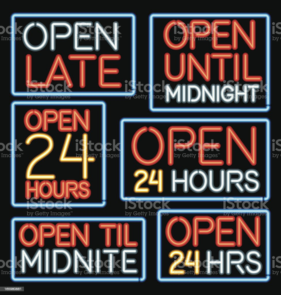 Neon 'Open Late' Sign Icons vector art illustration
