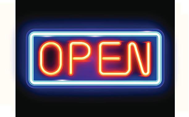 neon geöffnet - lampenshop stock-grafiken, -clipart, -cartoons und -symbole