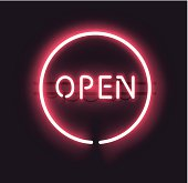 Classic OPEN neon sign. EPS 10 with gradient mesh. Fully transparent, any dark background can be used.