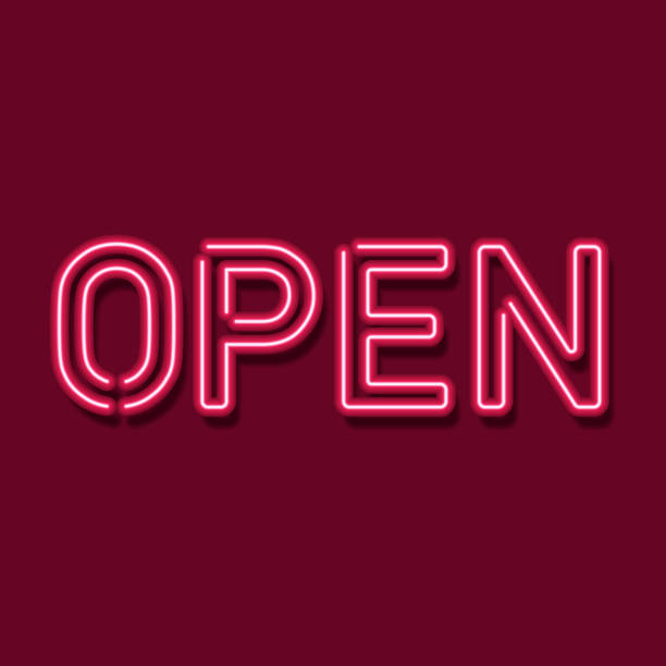 Neon Open Sign Vector Open Sign With Neon Letters open sign stock illustrations