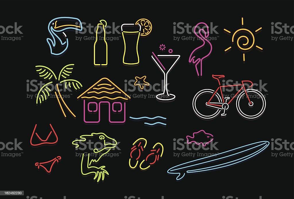 Neon Paradise vector art illustration