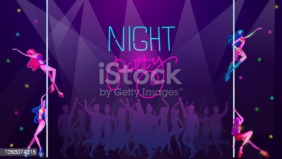 istock Neon party in night disco club, dancing people silhouettes, music glow bright light vector illustration. Sexy girls dancing in disco music. 1263074315