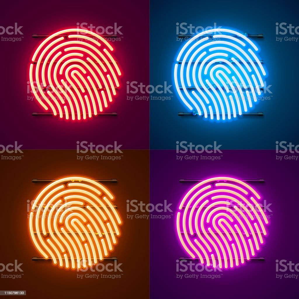 Neon Password Touch ID phone sign color set. Vector illustration