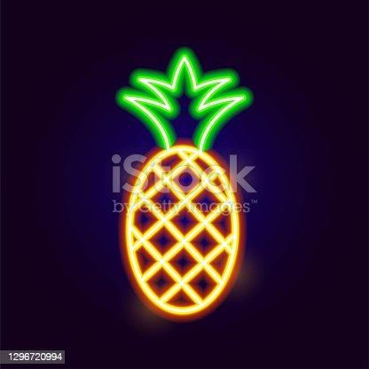 istock Neon Pineapple Icon 1296720994