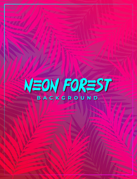 neon pink synthwave foliage background of an electric jungle or futuristic cyberpunk forest - jungle stock illustrations