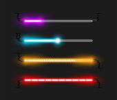 Neon progress bars and loaders vector illustration
