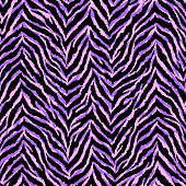 Neon purple and pink zebra fur texture seamless pattern. Exotic animal vector background.