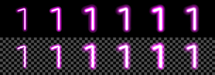 Neon Purple Glowing Number 1 on black background. Digit One with transparency with different thickness and glow saturation variations. For billboard, price, advertisement, discount, poster