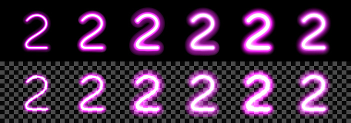 Neon Purple Glowing Number 2 on black background. Digit Two with transparency with different thickness and glow saturation variations. For billboard, price, advertisement, discount, poster