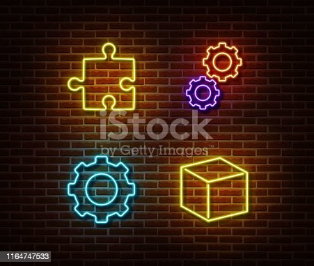 Neon puzzle, gear, cube signs vector isolated on brick wall. Neon build light symbol. Vector illustration.