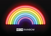 Neon rainbow. Vector glowing multicolored brushes