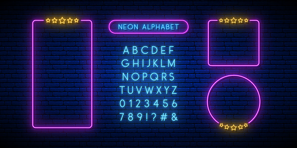 Neon rating sign. Bright blue neon font. Set of neon frames and english alphabet on a dark brick background. Vector neon design template.