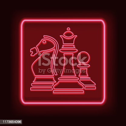 Neon rectangle frame with chess. Glowing signboard design. Vector illustration