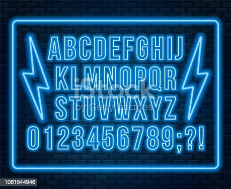 Neon red font. Bright capital letters with numbers on a dark background. Vector illustration.