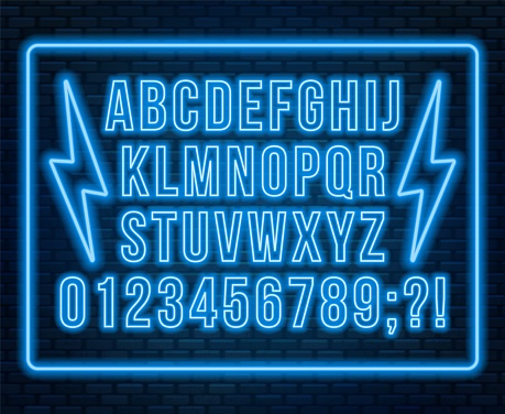 Neon red font. Bright capital letters with numbers on a dark background.