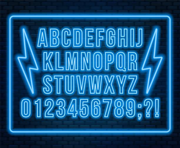 neonowa czerwona czcionka. jasne wielkie litery z cyframi na ciemnym tle. - neon stock illustrations