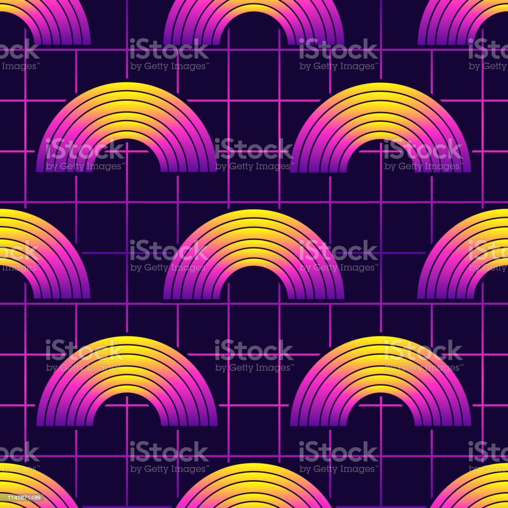 Neon Retrowave 80s Style Seamless Pattern With Rainbow