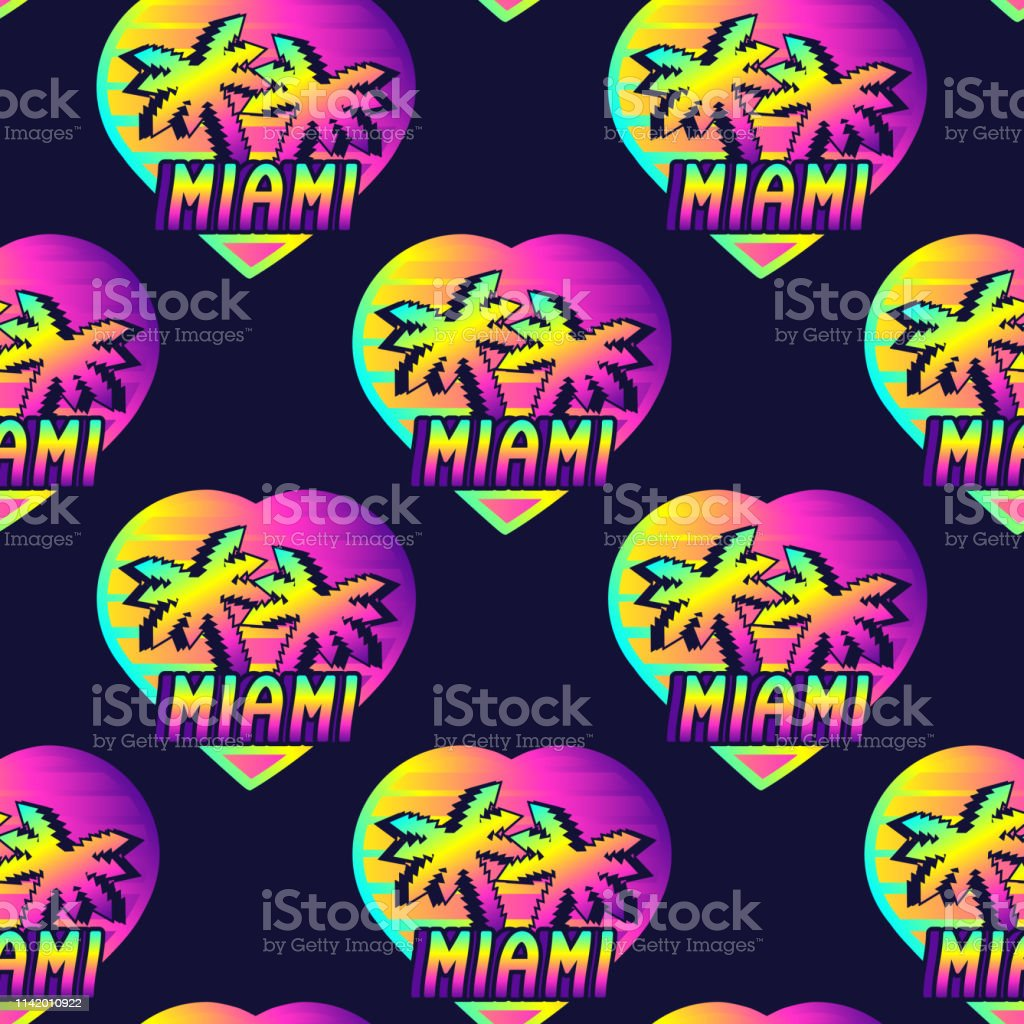 Neon Retrowave Style Seamless Pattern With Heart Symbol With