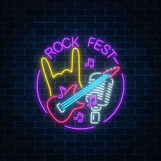 ilustrações, clipart, desenhos animados e ícones de rock festival de néon com gesto de guitarra, microfone e rock no frame redondo. música ao vivo no ícone de ar livre. - ícones de festas e estações