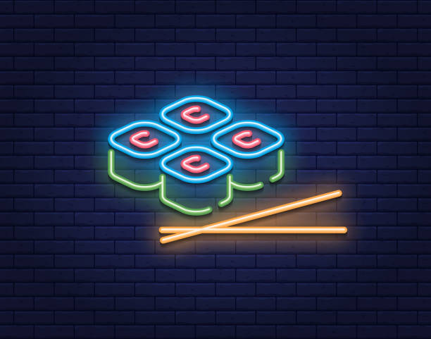 neon roll sushi icon sign - food delivery stock illustrations