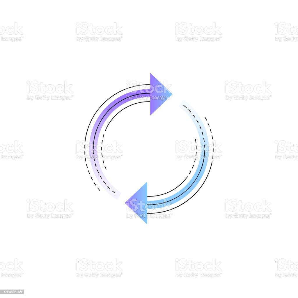 Neon rotation arrow vector line icon vector art illustration