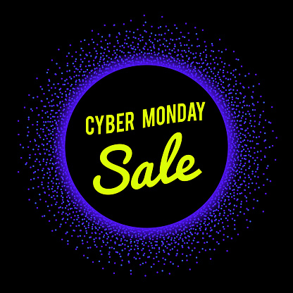 Neon sale technology banner for Cyber Monday event. Vector graphic template