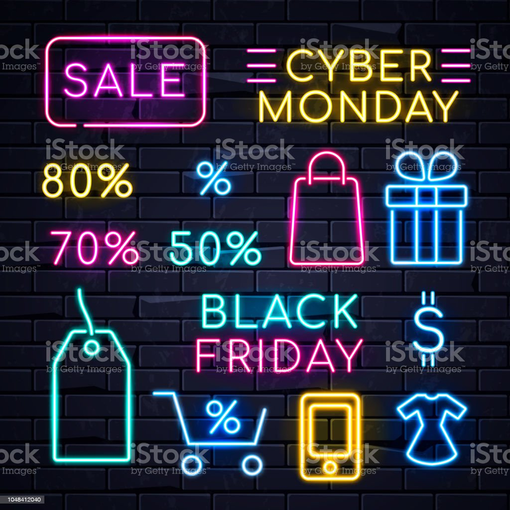 Neon Sales Sign Illuminated neon signs logo frame light electric banners glowing on black brickwall background,big huge sales concept set.Neons sign logos Black friday Cyber monday,percent sale billboards Abstract stock vector