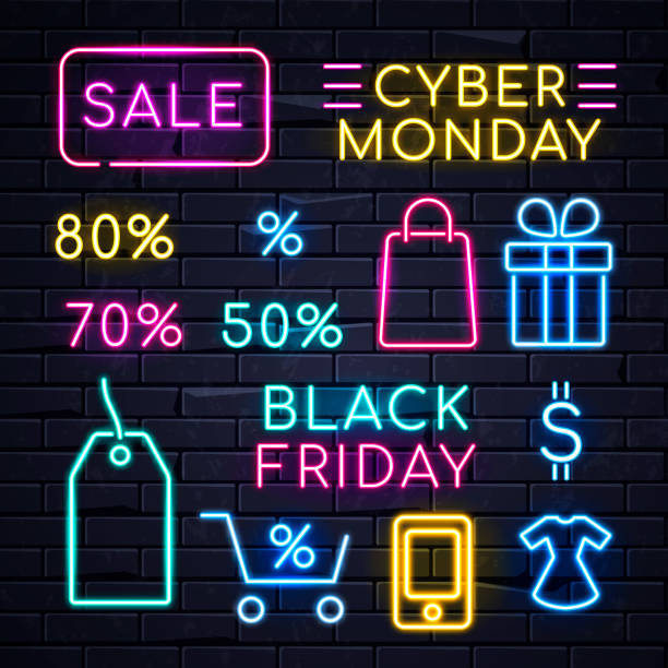 neon sales sign - cyber monday stock illustrations