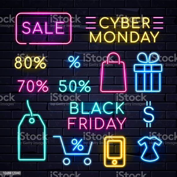 Neon Sales Sign Stock Illustration - Download Image Now