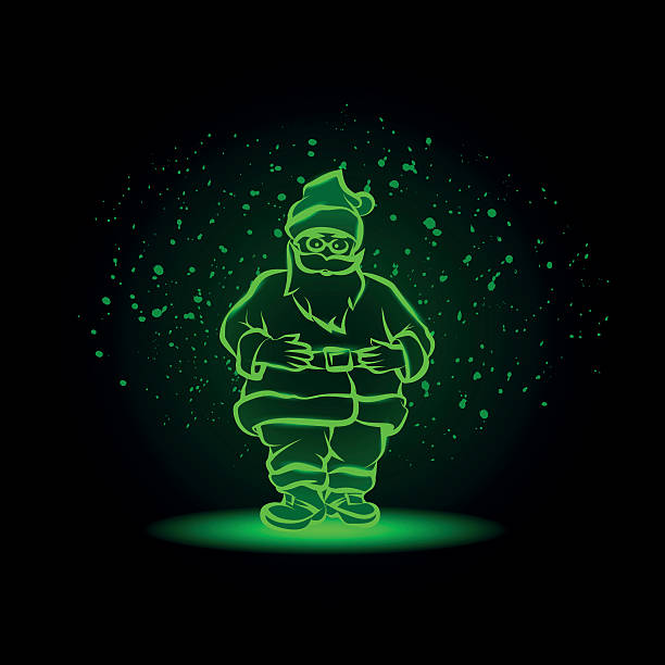 ilustrações de stock, clip art, desenhos animados e ícones de neon santa on a snowy background. green glowing santa claus. - santa beard neon