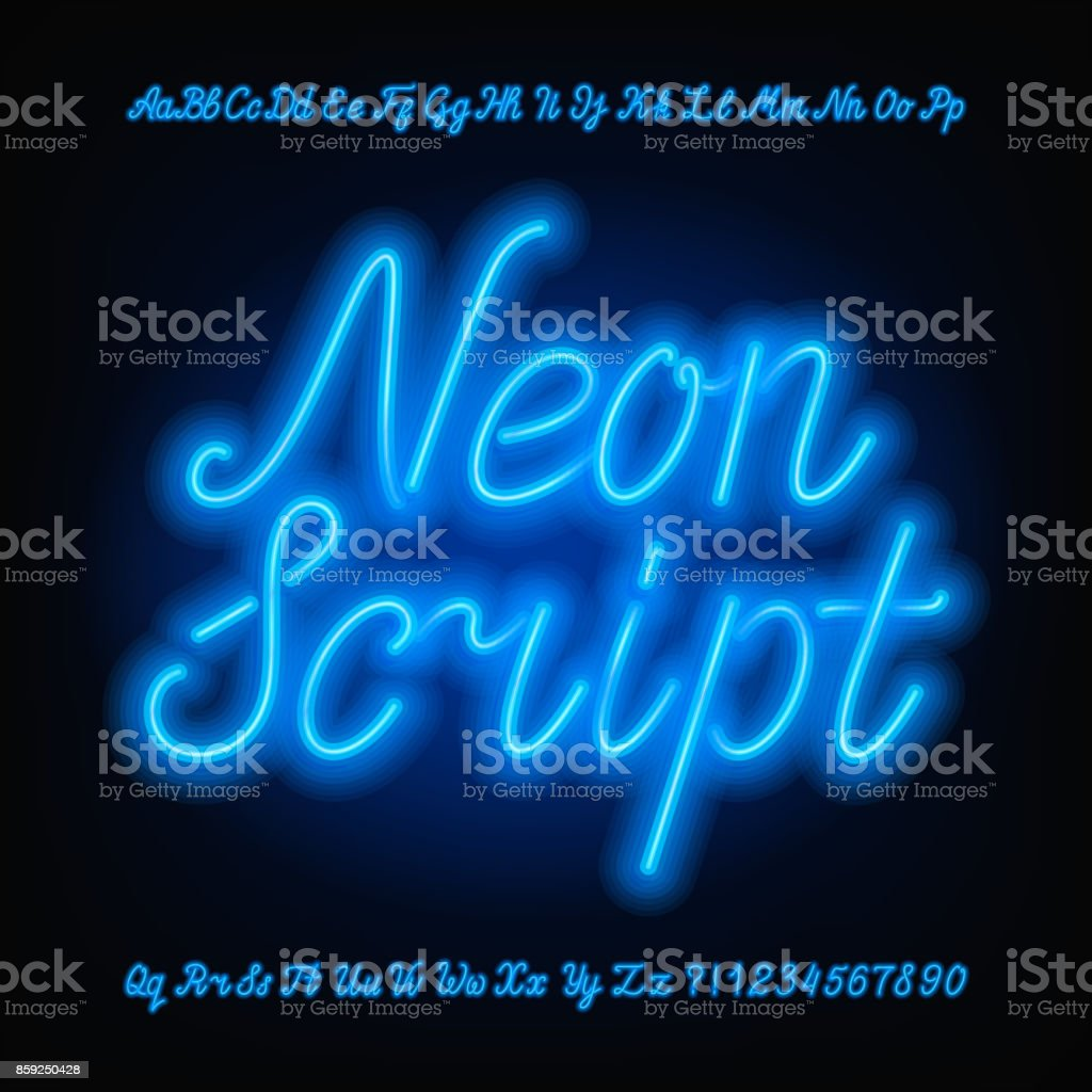 Neon script alphabet font. Blue neon uppercase and lowercase letters. vector art illustration