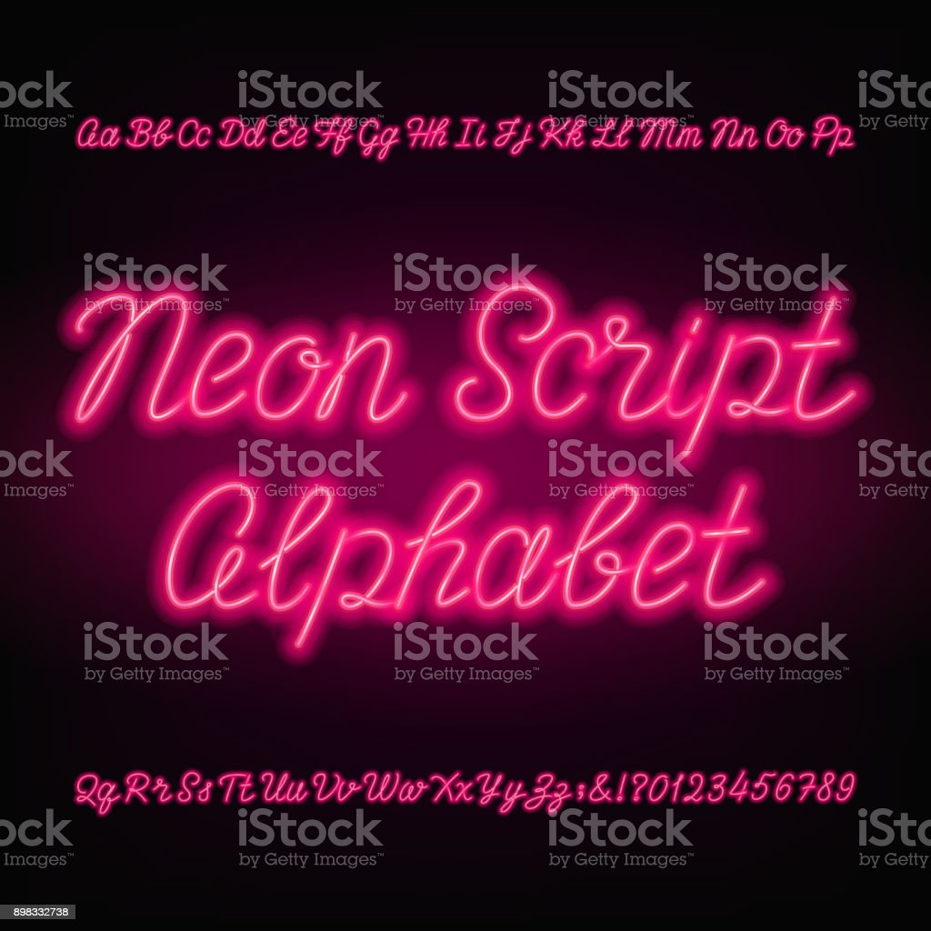 Neon script alphabet font. Handwriting neon uppercase and lowercase letters. vector art illustration