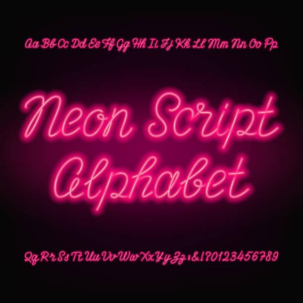네온 스크립트 알파벳 글꼴입니다. 필기 네온 대문자 그리고 소문자입니다. - 형광색의 stock illustrations