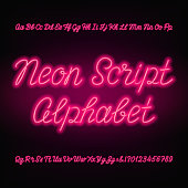 Pink Neon Tube Alphabet Font Stock Vector Art & More Images