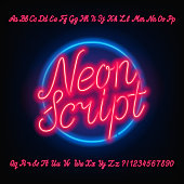 Neon script alphabet font. Red neon uppercase and lowercase letters.