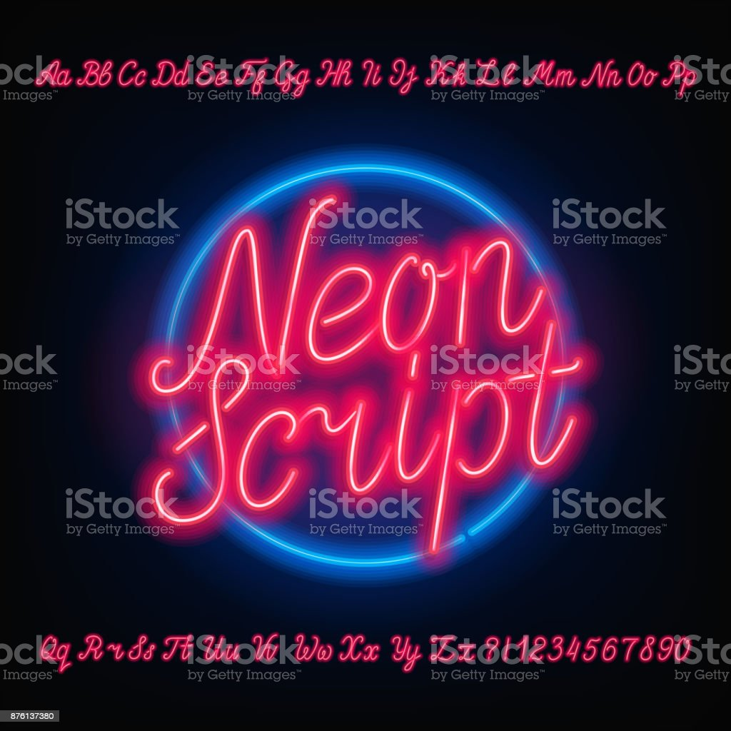 Neon script alphabet font. Red neon uppercase and lowercase letters. vector art illustration