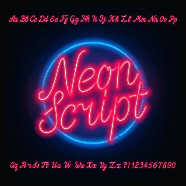 neon script alphabet font. red neon uppercase and lowercase letters. - text stock illustrations, clip art, cartoons, & icons