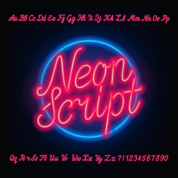 네온 스크립트 알파벳 글꼴입니다. 붉은 네온 대문자 그리고 소문자입니다. - 형광색의 stock illustrations