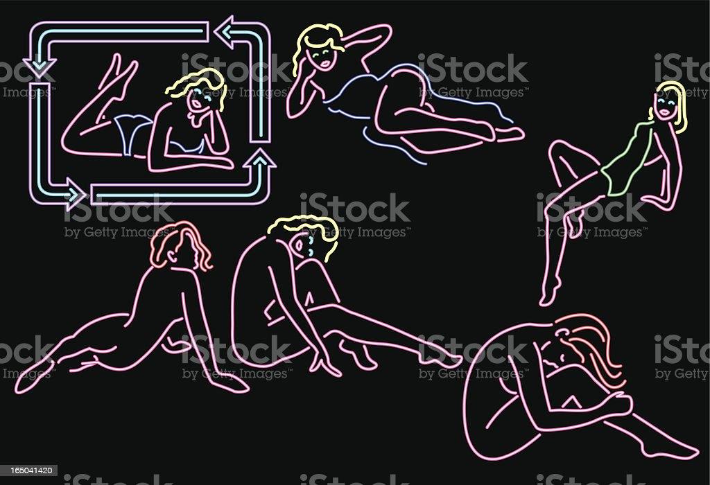 neon series 4 - pin-up girls royalty-free stock vector art
