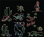 vector file of seven southwest design scenes drawn to look like neon lights. Black background on a separate layer.  Files include cs-eps, cs-ai, and hi-res jpeg.