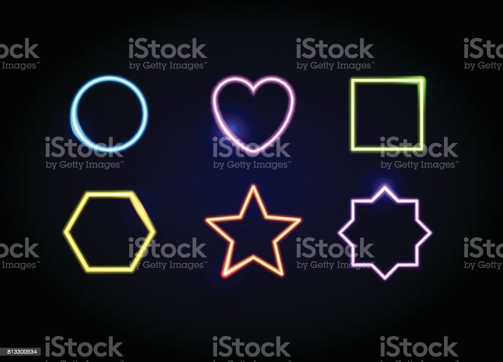 Neon Shapes Frames Glowing Circle Heart Square Hexagon Star And