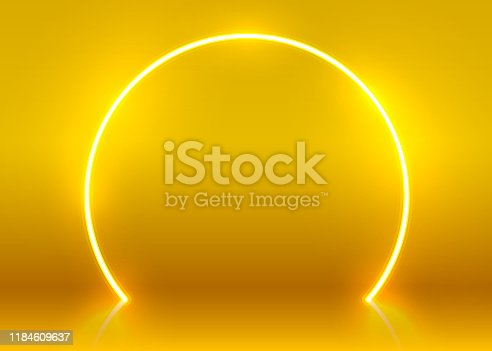 Neon show light podium futuristic background. Vector illustration