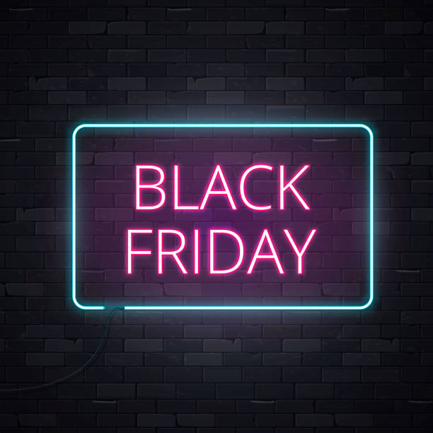 Neon sign 1 Black friday sale neon frame sign light electric banner glowing on black brickwall background, vector illustration black friday sale background stock illustrations
